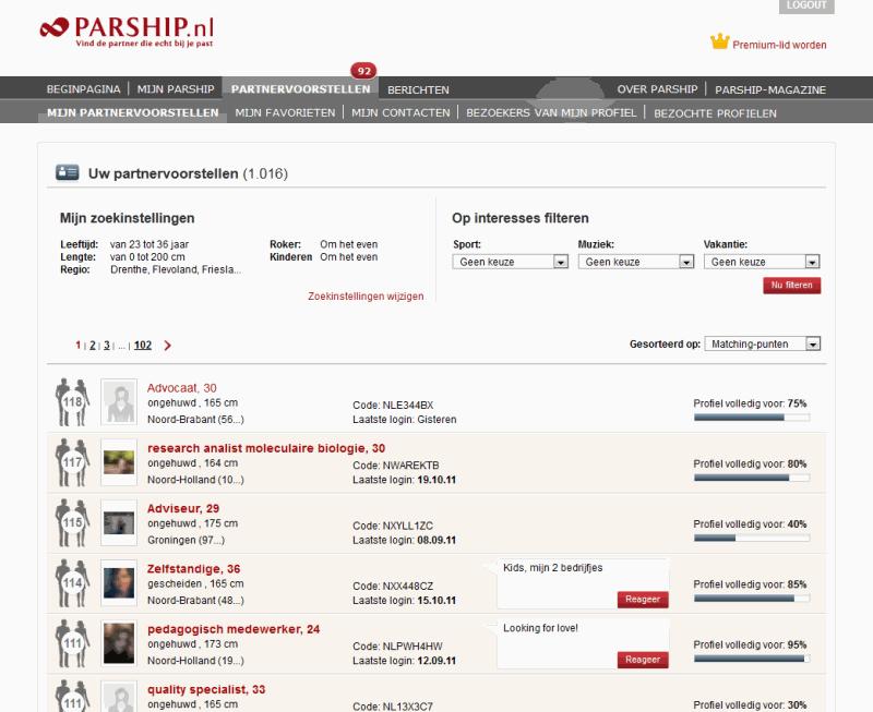Parship login at